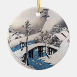 A Bridge in a Snowy Landscape, Ando Hiroshige Double-Sided Ceramic Round Christmas Ornament