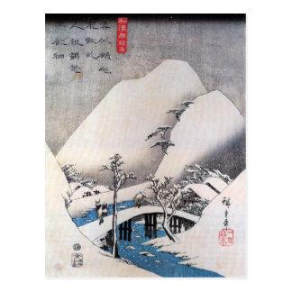 A Bridge in a Snowy Landscape, Ando Hiroshige Postcard