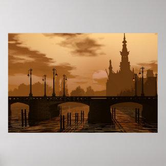 A bridge in Amsterdam Poster