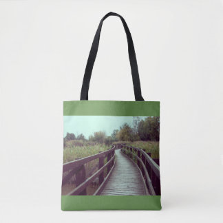 A bridge in the lagoon tote bag