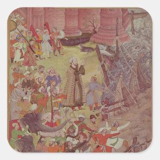 A Bridge of boats broken by Akbar (r.1556-1605) on Square Sticker