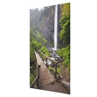 A Bridge Over Columbia River And Latourell Falls Stretched Canvas Prints