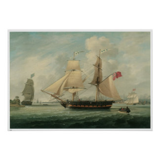 A Brig entering Liverpool: 19th Century Print