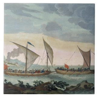 A Brigantine giving chase to a Felucca, and about Ceramic Tile