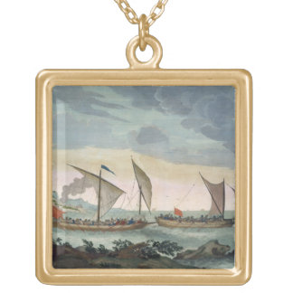 A Brigantine giving chase to a Felucca, and about Gold Plated Necklace
