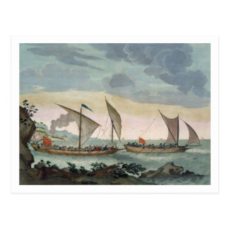 A Brigantine giving chase to a Felucca, and about Postcard