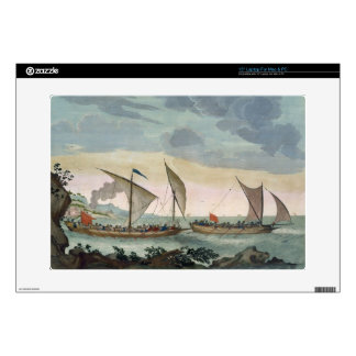 A Brigantine giving chase to a Felucca, and about Laptop Skins