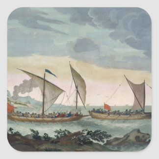 A Brigantine giving chase to a Felucca, and about Square Sticker