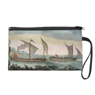 A Brigantine giving chase to a Felucca, and about Wristlet Purse