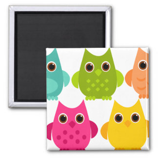 A Bright Bunch of Owls 2 Inch Square Magnet
