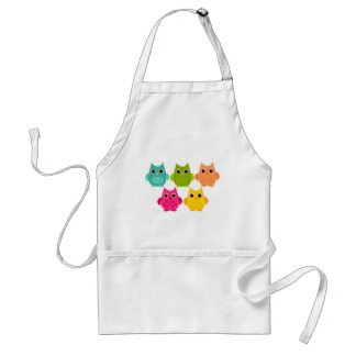 A Bright Bunch of Owls Adult Apron