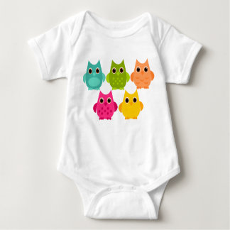 A Bright Bunch of Owls Baby Bodysuit