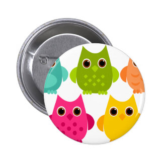 A Bright Bunch of Owls Pinback Button
