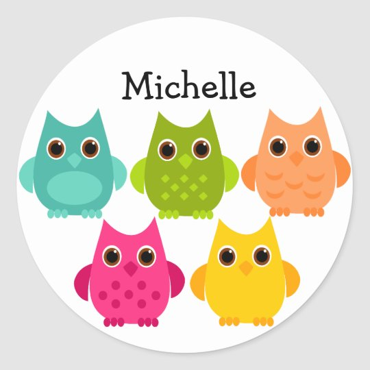 A Bright Bunch of Owls Classic Round Sticker
