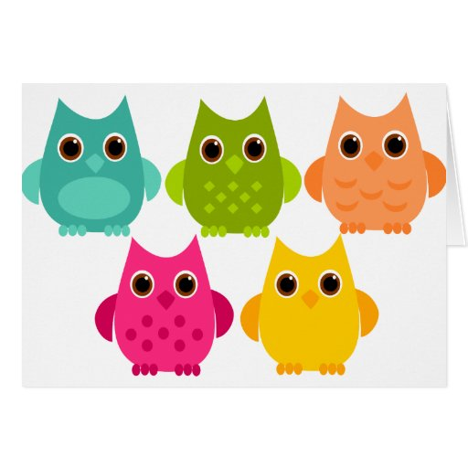 A Bright Bunch of Owls Greeting Card