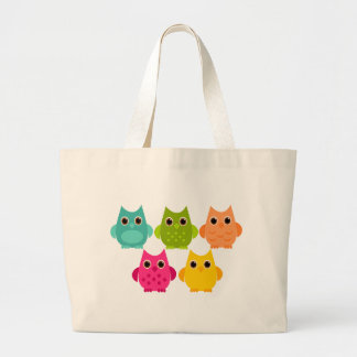 A Bright Bunch of Owls Large Tote Bag