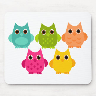 A Bright Bunch of Owls Mouse Pad