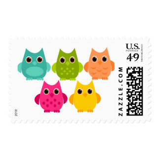 A Bright Bunch of Owls Postage Stamp