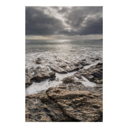 A Bright But Cloudy Day At Porthcurnick Beach Poster