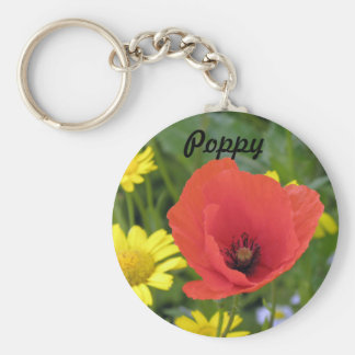 A bright, cheerful poppy in the meadow keychain