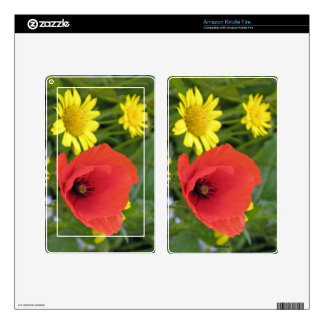 A bright, cheerful poppy in the meadow decal for kindle fire