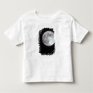 A bright full moon in a black night sky. toddler t-shirt