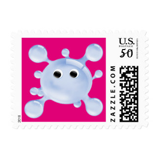 A Bright, Fun Blue Water Splat Postage Stamp