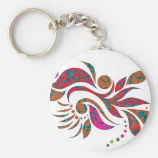 A bright modern abstract collage design basic round button keychain