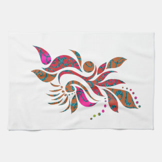 A bright modern abstract collage design kitchen towel