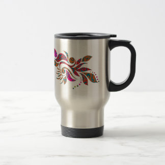 A bright modern abstract collage design 15 oz stainless steel travel mug