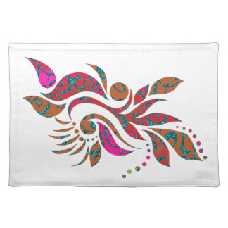 A bright modern abstract collage design cloth placemat