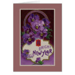 A Bright New Year Purple Pansy Flower Greeting Cards