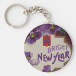 A Bright New Year Purple Pansy Flower Keychains