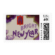 A Bright New Year Purple Pansy Flower Postage