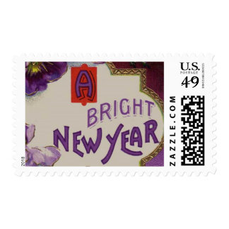 A Bright New Year Purple Pansy Flower Postage Stamp
