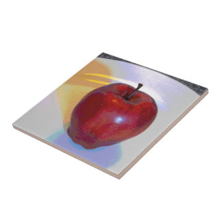 A Bright Red Apple Ceramic Tile