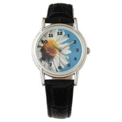 A Bright White Daisy under a Big Blue Sky Wristwatch