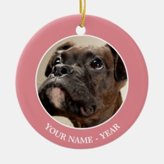 A Brindle Boxer puppy looking up curiously. Ceramic Ornament