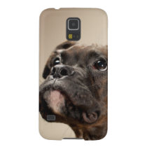 A Brindle Boxer puppy looking up curiously. Galaxy S5 Case