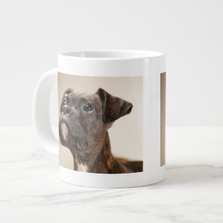 A Brindle Boxer puppy looking up curiously. Giant Coffee Mug
