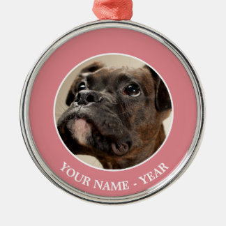 A Brindle Boxer puppy looking up curiously. Metal Ornament