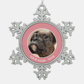 A Brindle Boxer puppy looking up curiously. Snowflake Pewter Christmas Ornament