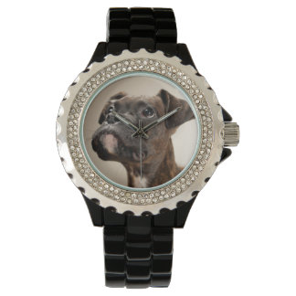 A Brindle Boxer puppy looking up curiously. Wrist Watch