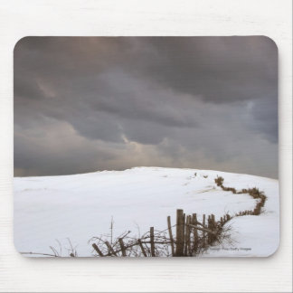 A Broken Fence Along A Snow Covered Field Mouse Pad
