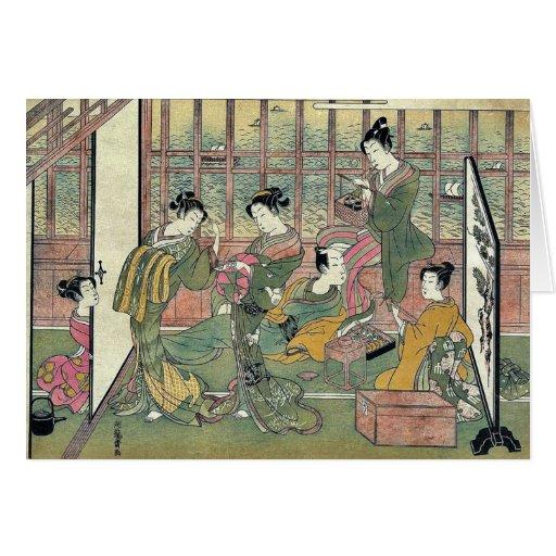 A brothel in Shinagawa by Isoda,Koryusai Greeting Card