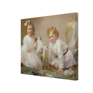 A Brother and Sister Playing, 1915 Canvas Print