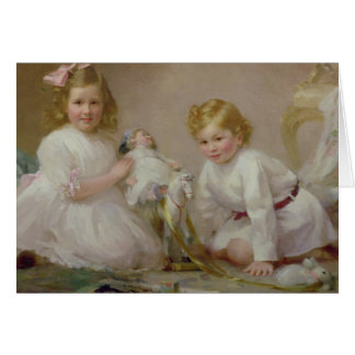 A Brother and Sister Playing, 1915 Card