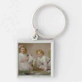 A Brother and Sister Playing, 1915 Keychain