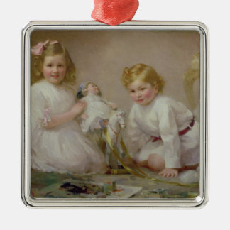 A Brother and Sister Playing, 1915 Metal Ornament