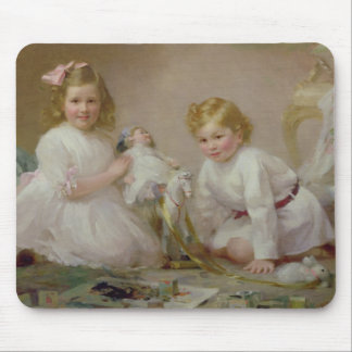 A Brother and Sister Playing, 1915 Mouse Pad